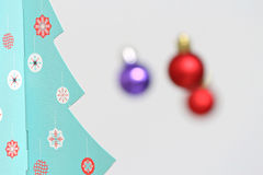 Colorful Christmas balls decorations and christmas tree Stock Photo