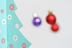 Colorful Christmas balls decorations and christmas tree Stock Photo