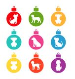 Colorful Christmas Balls with Different Dogs. Set Simple Balls Isolated on White Background - Illustration Vector Stock Image