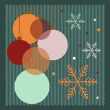 Colorful Christmas Balls With Dots And Snowflakes. Colorful Vintage Christmas Balls With Dots And Snowflakes, 2017 Happy New Year Card Royalty Free Stock Photo