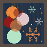 Colorful Christmas Balls With Dots And Snowflakes. Colorful Vintage Christmas Balls With Dots And Snowflakes, 2017 Happy New Year Card Royalty Free Stock Images