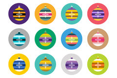Colorful christmas balls flat vector icons set. Collection bundle. Set of  flat decorations. Vector New Year tree balls icons Stock Photo