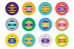 Colorful christmas balls flat vector icons set Stock Photo
