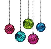 Colorful Christmas balls. Colorful Christmas glass decoration balls isolated on white background vector illustration