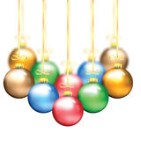 Colorful Christmas balls on a gold ribbon Stock Photo