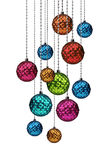 Colorful Christmas balls group hanging Stock Photo