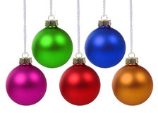Colorful Christmas balls hanging isolated Royalty Free Stock Photo