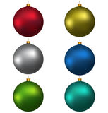 Colorful christmas balls, isolated on white Royalty Free Stock Images