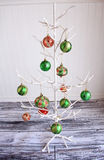 Colorful Christmas balls in metal bucket Royalty Free Stock Images