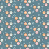 Colorful Christmas Balls Pattern. With Snowflakes And White Dots Royalty Free Stock Images
