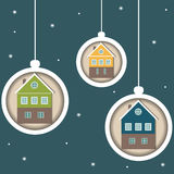 Colorful Christmas Balls, Real Estate Concept. Colorful Christmas Balls, With Snowflakes And Eco Houses Stock Images