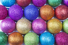 Colorful christmas balls. Rows of colourful christmas balls as background Stock Image