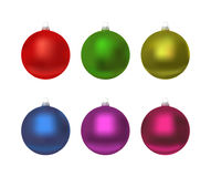 Colorful christmas balls. Set of isolated realistic decorations. Vector illustration Stock Photos