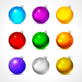 Colorful christmas balls. Set of isolated realistic decorations. Vector illustration. Royalty Free Stock Image