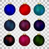 Colorful christmas balls. Set of isolated realistic decorations. Vector illustration. Colorful christmas balls. Set of isolated realistic different colors Stock Photo