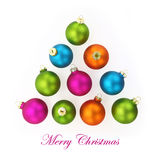 Colorful Christmas balls in shape of a tree Royalty Free Stock Photography