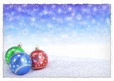 Colorful christmas balls on snow with bokeh background. 3D render royalty free illustration