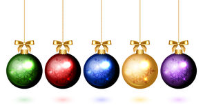Colorful christmas balls with snowflake ornament Stock Photography