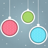 Colorful Christmas Balls. With Snowflakes Stock Images