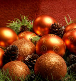 Colorful Christmas balls with spruce needles Royalty Free Stock Images