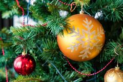 Colorful Christmas balls used as decoration on tree royalty free stock photography