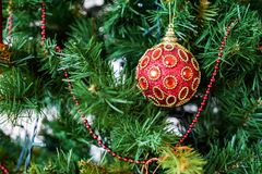 Colorful Christmas balls used as decoration on tree royalty free stock images