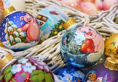 Colorful Christmas balls with various decorative patterns royalty free stock images