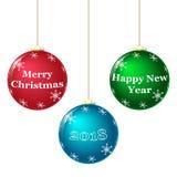 Colorful Christmas balls, white snowflakes. 2018 vector illustration