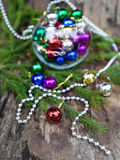 Colorful Christmas balls on wood Stock Images