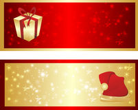 Colorful christmas banner. Red and gold shine banner with present and hat Stock Photography