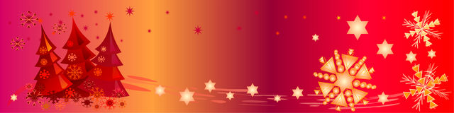 Colorful Christmas Banner. This header / banner shows decorative snowflakes, stars and cute little Christmas trees. Can be used as a background too Stock Images
