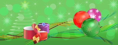 Colorful Christmas banner panorama Royalty Free Stock Photos