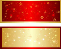 Colorful christmas banner with snowflakes. Red and gold shine banner with snowflakes and sparkles Stock Photo