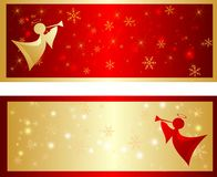 Colorful christmas banner with snowflakes. Colorful christmas banner and angel Royalty Free Stock Photography