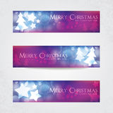 Colorful Christmas banners. With stars and Christmas tree Royalty Free Stock Photos