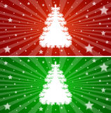 Colorful christmas banners. Christmas decoration with white fir tree and stars Stock Image