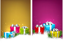 Colorful christmas banners with gift boxes. Abstract christmas banners with fir branches and realistic gift boxes. Vector illustration Stock Image