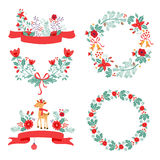 Colorful Christmas banners and laurels with. Flowers, birds, deer, hollies and leaves. Ideal for invitations and Christmas cards Stock Photography