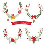 Colorful Christmas banners. And laurels with flowers, birds, deers, hollies and leaves. Ideal for invitations and Christmas cards Royalty Free Stock Photo