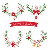 Colorful Christmas banners and laurels. With flowers, birds, deers, hollies and leaves. Ideal for invitations and Christmas cards Royalty Free Stock Image