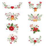 Colorful Christmas banners and laurels. With flowers, birds, deers, hollies and leaves. Ideal for invitations and Christmas cards Stock Photos