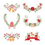 Colorful Christmas banners and laurels. With flowers, birds, deers, hollies and leaves. Ideal for invitations and Christmas cards Royalty Free Stock Images