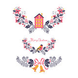 Colorful Christmas banners and laurels. With flowers, birds, deers, hollies and leaves. Ideal for invitations and Christmas cards Stock Image