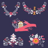Colorful Christmas banners and laurels with. Flowers, birds, deers, hollies and leaves. Ideal for invitations and Christmas cards Royalty Free Stock Photos