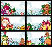Colorful Christmas banners series. Christmas holiday horizontal compositions: Decorations, Presents, Christmas tree, gingerbread man, snowflakes, Santa, cat Stock Images