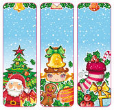 Colorful Christmas banners series. Christmas holiday vertical banners: Santa Claus, Children, Decorations, Presents, Christmas tree, gingerbread man, holly Royalty Free Stock Images