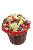 Colorful Christmas basket Stock Photos