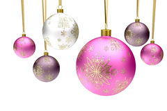 Colorful christmas bauble balls Stock Photos