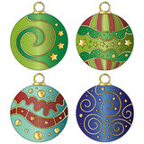 Colorful Christmas bauble collection. With curls and stars Royalty Free Stock Images