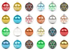 Colorful christmas bauble collection 3D rendering. Colorful christmas bauble collection on white background 3D rendering Vector Illustration